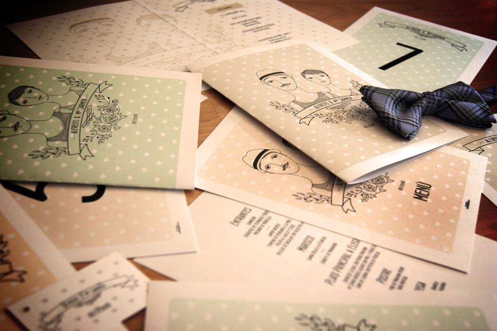 Invitaciones de boda y papelería a juego Urban Indi
